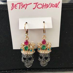 BETSEY JOHNSON Princess Skull Earrings NWT